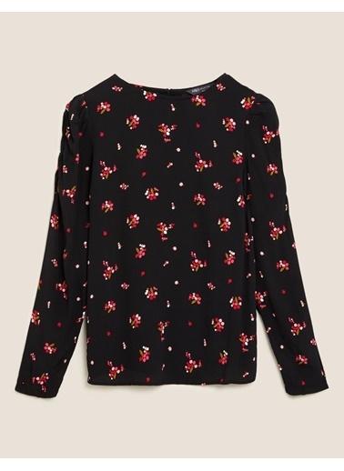 Marks & Spencer Çiçek Desenli Kolları Büzgülü Bluz Siyah